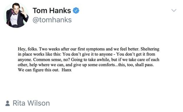 汤姆·汉克斯病情好转,在家中进行自我隔离